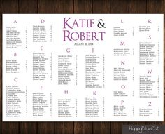 FREE RUSH SERVICE  Classic Wedding Seating Chart by HappyBlueCat, $40.00
