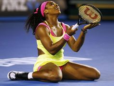 Serena Williams of the U.S. reacts after winning a