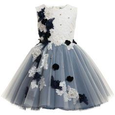 Lesy Luxury Flower - Navy Blue Satin Dress with Tulle Roses | Childrensalon