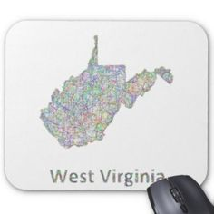 West Virginia map Mouse Pad $12.10 *** Colorful line art design map of West Virginia state. - mousepad