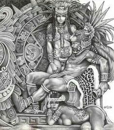 Aztec King and female's Chicano Tattoos, Chicano Art, Body Art Tattoos, Aztec Symbols, Mayan Symbols, Viking Symbols, Egyptian Symbols, Viking Runes, Ancient Symbols