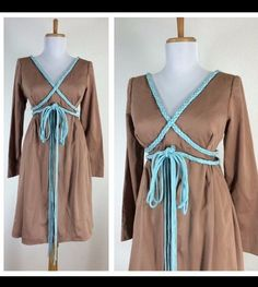 Vintage 1970s Brown Blue Braided Poetic Hippie Boho Mini Dress Empire Waist M
