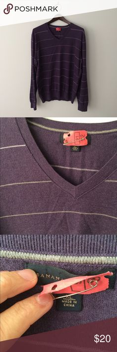 BANANA REPUBLIC [Men's] Purple striped Sweater Silk, cashmere, nylon blend sweater. Size XL from Banana Republic. Dry cleaned and ready to wear. Banana Republic Sweaters V-Neck