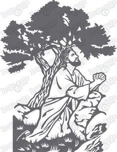 Imagen vectorial de la primera estaci�n del Viacrucis: Jes�s orando en el Huerto de los Olivos