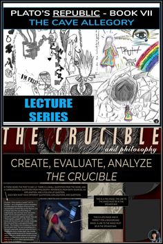 PLATO'S CAVE ALLEGORY | THE CRUCIBLE | THE CRUCIBLE ESSAY ALTERNATIVE ✺ CRITICAL THINKING LECTURE The Cave Allegory is one of the most famous passages of philosophy, and I think all students should study it sometime during their education. It asks its readers to liberate themselves from the conventional bonds that chain them. My intention here is to provide a 90 minute to two-hour lecture for high school, college, and first or second year university students. Pair with THE CRUCIBLE!