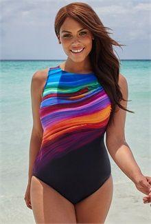 f738e3f2a81 Plus Size Desert Oasis High-Neck Swimsuit Plus Size Swimwear
