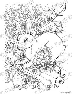 Forest Rabbit Adult Coloring Book Page, Instant Download, Digital File, Print at Home, Nature and Fantasy Themed Digital Coloring Page by funkyartmuffins on Etsy
