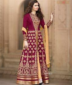 Buy Magenta Banglori Silk Floor Length Anarkali Suit 72955 online at lowest price from huge collection of salwar kameez at Indianclothstore.com.