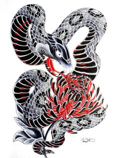black and red flash snake tattoo - Google Search