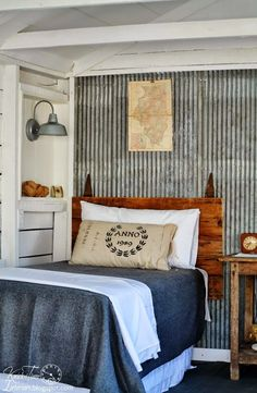 I love the galvanized metal wall! This would look fantastic in a boy's bedroom. Guest Cottage Room REVEAL {in an Old Farmhouse Shed} - Knick of Time Home Beach, Farmhouse Sheds, Farmhouse Style, Farmhouse Decor, Cottage Farmhouse, Farmhouse Interior, Farmhouse Design, Modern Farmhouse, Style Cottage