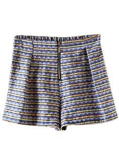 Blue High Waist Geometric Print Shorts - Sheinside.com