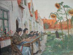 Encajeras de Brujas (Bélgica) Litografia en color