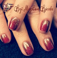 "Happy holidays! OPI GelColor natural nail manicure in ""I'm Not Really a Waitress"" with gold loose glitter fade"