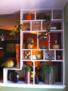 this was actually our first DIY project for this house - built in open cabinets to act as a partial divider between kitchen and living room. Room Divider Bookcase, Built In Bookcase, Bookshelf Ideas, Room Dividers, Book Shelves, Bookcases, Living Room Partition, Living Room Divider, Open Cabinets