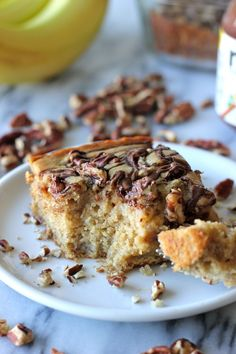 Banana, Pecan and Nutella Swirled Snack Cake - An irresistible banana snack cake loaded with Nutella and pecans!