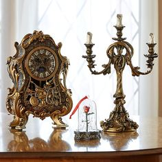 Beauty And The Beast Cogsworth clock & Lumiere light Set. Cogsworth watches : height about 32 × width 21 × depth 12 cm. Lumiere light : height about × width × depth World limited Be Our Guest. Lumiere Beauty And The Beast, Beauty And The Beast Bedroom, Disney Beauty And The Beast, Casa Disney, Disney Rooms, Disney House, Casa Kardashian, Cogsworth Clock, Deco Disney
