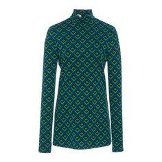 Polo Neck Sweater   Moda Operandi (3 575 SEK) ❤ liked on Polyvore featuring tops, sweaters, turtle neck sweater, blue top, geometric top, geometric print top and geometric sweater