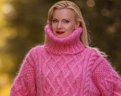 Made to order thick hand knitted mohair sweater, Aran pullover in rose pink by SuperTanya Womens Knit Sweater, Mohair Sweater, Thick Sweaters, Women's Sweaters, Sweater Outfits, Turtlenecks, Jumpers, Hand Knitting, Vests