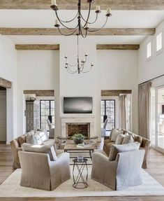 40 Rustic Farmhouse Living Room Design Ideas – Decorating Ideas - Home Decor Ideas and Tips Design Living Room, Family Room Design, Home Living Room, Living Room Layouts, Taupe Living Room, High Ceiling Living Room, Living Area, Transitional Living Rooms, Modern Living