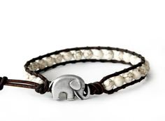 the lucky elephant White Turquoise Leather Wrap Bracelet - White Turquoise with GOOD LUCK ELEPHANT.