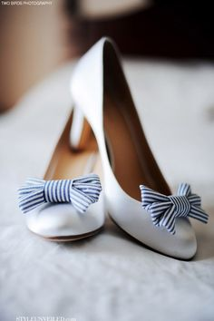 Awesome nautical #wedding shoes with cute blue and white striped bows