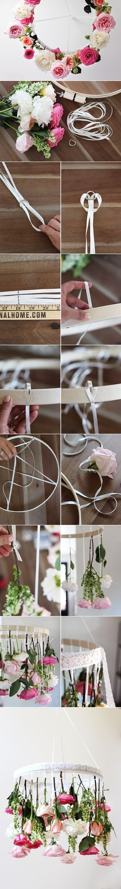DIY - FLOWER CHANDELIER ( CLICK THROUGH FOR TUTORIAL ) >> YOU WILL NEED : 3-4 DOZEN FLOWERS , A WOODEN EMBROIDERY HOOP , 15-20 YARDS OF ASSORTED RIBBON , 1-2 YARDS OF LACE TRIM , A D RING OR PLASTIC RING , FLORAL SHEARS , A BUCKET , GLUE GUN , SCISSORS