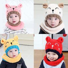 New Toddler Kids Girl&Boy Baby Infant Winter Warm Crochet Knit Hat Beanie Cap Cute Beanies, Baby Beanie Hats, Baby Boy Hats, Girls Winter Hats, Winter Knit Hats, Knitted Hats Kids, Crochet Hats, Knitted Baby, Baby Hut