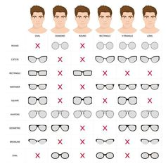 Illustration of Right glasses for mans face shape. Stock vector illustration of glasses shapes for different male face types. glasses for man. male glasses different types. Glasses For Oval Faces, Mens Glasses Frames, Glasses For Your Face Shape, Glasses For Men, Mens Glasses Styles, Types Of Glasses Frames, Cool Glasses, Oval Face Men, Oval Face Shapes
