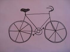 Simple steps for elementary kids to draw a bicycle.