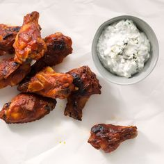 Bourbon-Glazed Chicken Drumettes with Blue Cheese Dipping Sauce @keyingredient #cheese #chicken