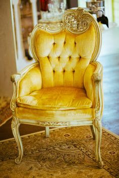 French yellow velvet chair ~ Use with the BLUE VELVET CHAIRS!!