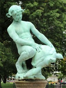 The Burnside Fountain, aka Turtle Boy   The 11 Most Disturbing Tourist Attractions Around the World   Cracked.com   There is also a similar fountain in Gerona, Spain. Statues, Touchdown Jesus, Doll Museum, South Of The Border, Bizarre, Chihuahua, Garden Sculpture, Creepy, Turtle