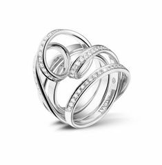 Dancing Lady Collection | 0.77 ct Pave Diamond Design Ring in White Gold 18K | www.baunat.com