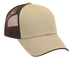 deluxe low profile tan front brown back trucker hat - Blank Low Profile Trucker hats