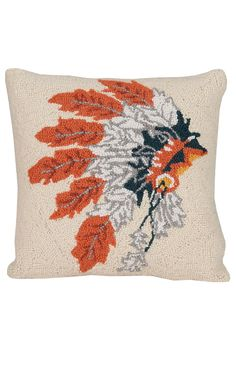 The perfect addition to Southwestern decor... An Indian headdress throw pillow