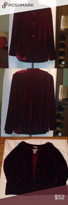 Joanna Burgundy Velour Jacket Sz XL Joanna Burgundy Velour Jacket Sz XL. Crew neckline. Long sleeves. Three button front closure. Materials: 96% Polyester/ 4% Spandex Urban Outfitters Jackets & Coats Capes