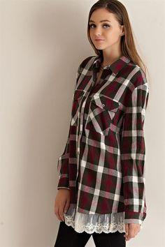 Lace Ruffle Plaid Shirt - Olive