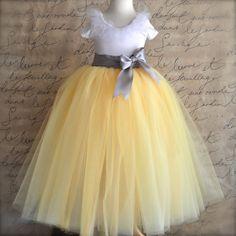 Flower Girl tutu in yellow with grey sash waist. Custom blend