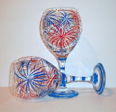 Hand Painted Wine Glasses July Fourth Fireworks Set of 2 - 6 oz. New Years Eve Independence Day July 4th