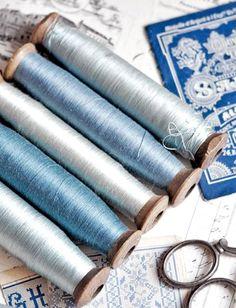 Vintage Sill Thread on Wooden Spools
