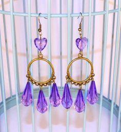 Boucles d'oreilles Violettes, Pendantes Gouttes, Boho Chic, Perles Coeurs