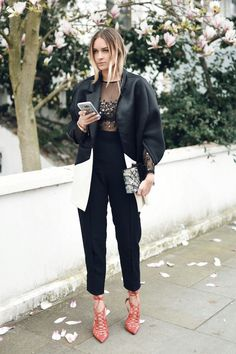 sheer embellished top with jacket and high waist pants