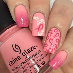 Instagram media by deanne29 - I'm finally feeling better now my migraines and sickness have gone thank god! So I thought I'd take a break from halloween nails and post a mani for Breast Cancer Awareness month. I used @chinaglazeofficial Float On, Fairy Dust and @opinailsuk Suzi Has A Swede Tooth