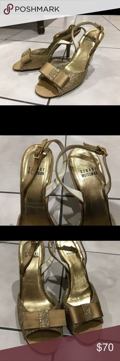 Stuar Weitzman sling back golden heels These 3 inch vintage heels feature golden glitter and a perfect satin bow that can be worn for any occasion! Women only once, doesn't include original box, they are in good condition. Stuart Weitzman Shoes Heels