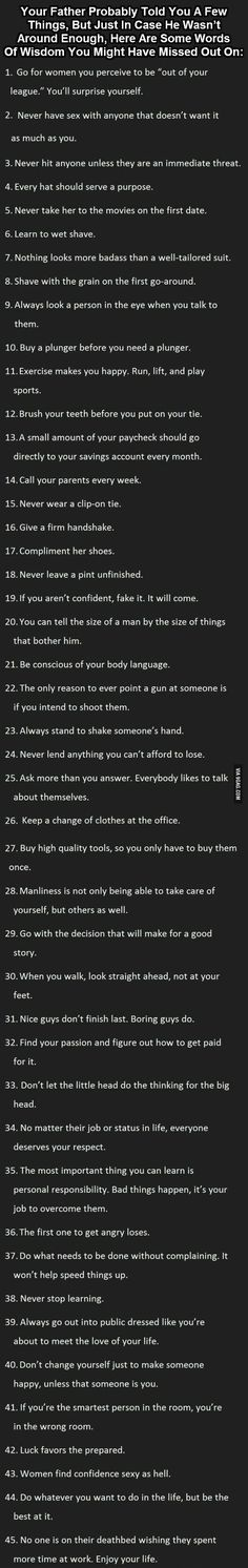 Neat list of words of wisdom from father to son.