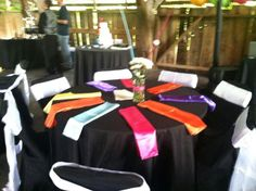 Multi color wedding design by Enchanting Special Events, bright colored wedding, black and colorful wedding