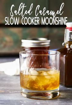 Cooker Salted Caramel Moonshine Looking for a special homemade gift for friends & neighbors? Make this super easy Slow Cooker Salted Caramel Moonshine that's perfect for holiday sipping. Looking for a special homemade gift for fri. Homemade Whiskey, Homemade Moonshine, Homemade Alcohol, Homemade Liquor, Salted Caramel Moonshine Recipe, Making Moonshine, Homemade Liqueur Recipes, How To Make Moonshine, Salted Caramels
