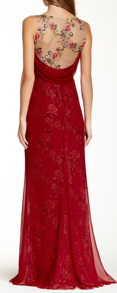 Embroidered floral gown