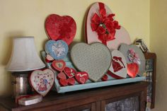Vintage Heart shaped candy boxes.