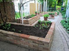 garten hochbeet 2 more bricks high and I wouldnt even have to bend over. bricks down make it a water reservoir. Raised Vegetable Gardens, Vegetable Garden Planning, Raised Garden Beds, Raised Beds, Brick Garden, Pallets Garden, Garden Planters, Diy Garden, Garden Projects